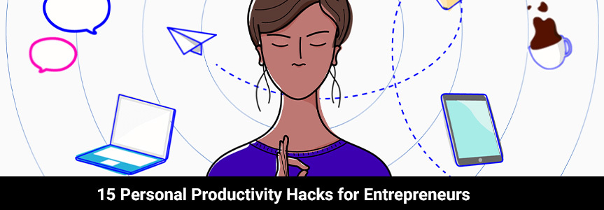 an entrepreneurs woman animation doing meditation to create her own personal productivity hacks
