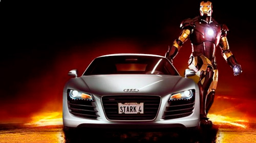Iron Man with an Audi car as a product placement example.