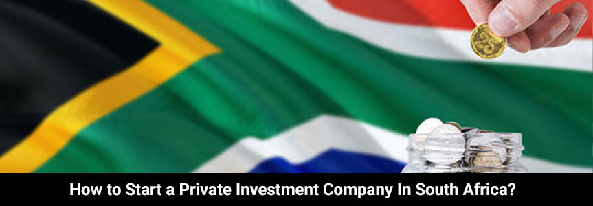 flag of south africa in the background putting saving coins in a jar to start a private investment company