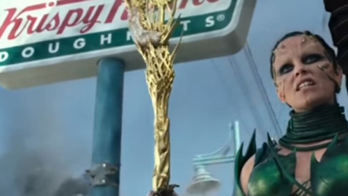 Power Rangers film where is Krispy Kreme billboard in the background.