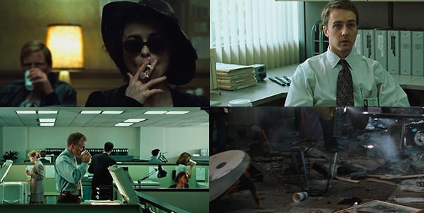 Four screens of Fight club film where is at least one cup of Starbucks coffee.