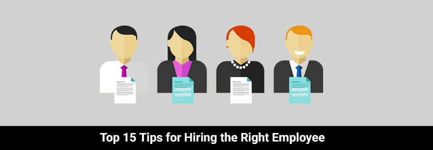 4 human icon with a list infront of them with tips for hiring the right employee