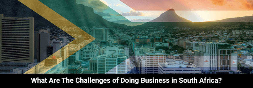 a flag of south africa illustrate on a city full of building doing business