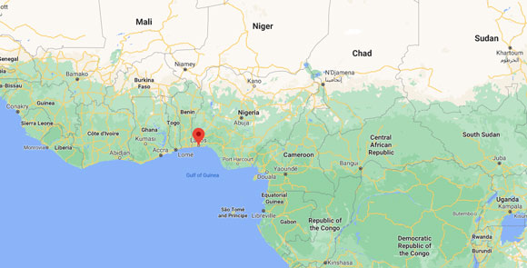 google map with some african's countries