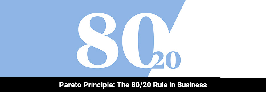 The famous logo of 80/20 rule in business on a background of blue and white also known as pareto principle