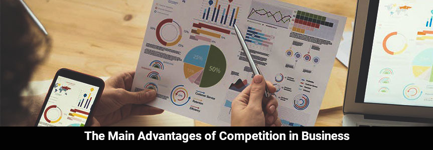 different diagram chart on paper, phone and laptop explaining about the main advantages of competition in business