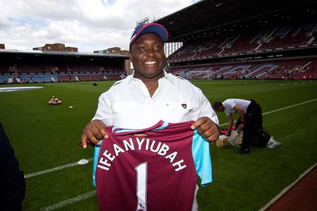 Ifeanyi Ubah is on the football stadium