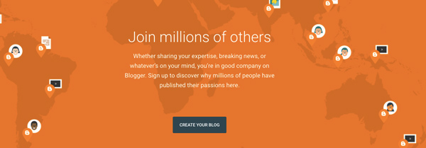 """Blogger's homepage with the world map and with the phrase """"join millions of others"""""""