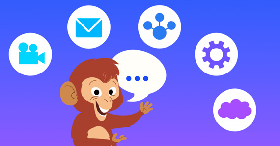 monkey is showing some icons