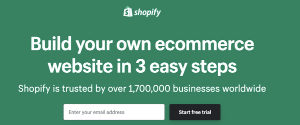 """Shopify's homepage with the statement """"build your own ecommerce website in 3 easy steps"""""""