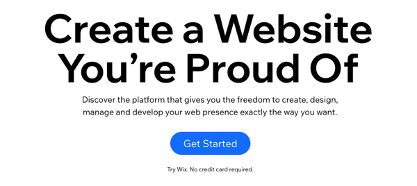 """homepage of wix.com with the phrase """"Create a website you're proud of"""""""